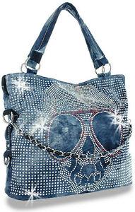 ... about Denim Blue Rhinestone Skull Handbag with Shades and BLING