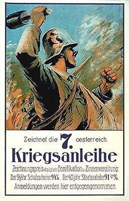 Vintage Austrian  7Th  War Loan Poster Ww 1