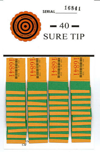 One Dozen # 40 Sure Tip Boards (1-40)  Bingo/Jar Tickets Free Shipping USA