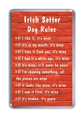 Irish Setter Dog Rules, Funny Dog Fridge Magnet Pet Animal Lover Novelty Gift