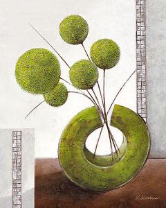 Karsten Kirchner: Arrangement in green I Leinwand-Bild 24x30 modern grün Deko