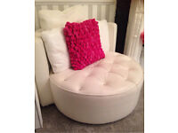 Sparks Italian White Designer leather cuddle chair with Swarovski crystal buttoning