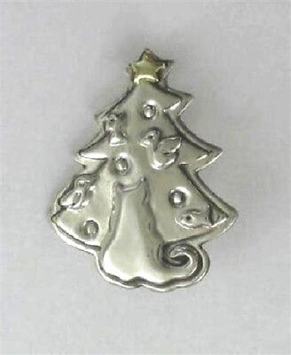 """Far Fetched Sterling Silver & Brass """"cat in christmas tree"""" Pin"""