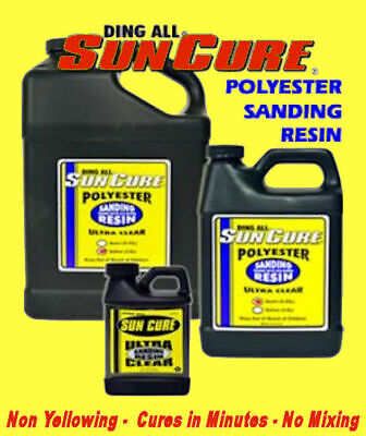 Ding All SunCure Polyester Sanding Resin Surfboard Repair Build Fiber Glass Sun