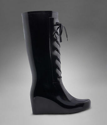 Navy lace up Rain Boot by YSL.
