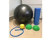 Pilates ball foam roller and spikey balance discs