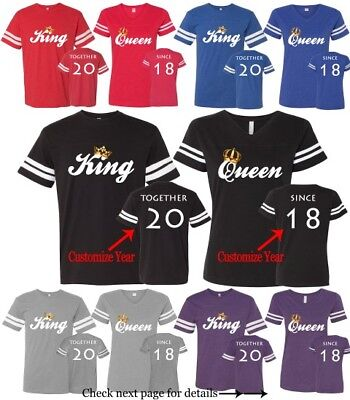 Couple Matching Football Jerseys King Queen Shirts Customized Love His and Hers](Couple Customs)