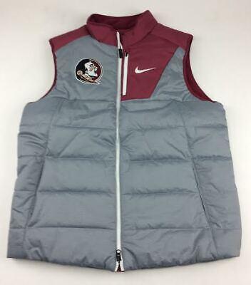 8e193e66cf7863 New Nike FSU Seminoles Full Zip Puffer Player Vest Pockets Men s L Grey  Maroon
