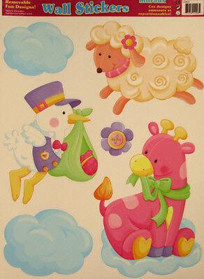 BABY GIRL themed wall stickers 6 decals nursery decor stork lamb pink giraffe + (Giraffe Nursery Decor)