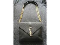 YSL yves Saint Laurent black caviar genuine leather chevron shoulder bag quilted