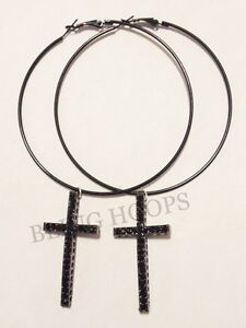 NEW Bling Hoops Black Rhinestone Cross Earrings Charms Beads Basketball Wives
