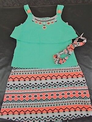 Girls Pogo Club  40 3Pc Mint   Neon Orange Skirt Set Size 5 6   6X
