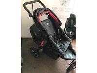 O baby double pushchair black and red