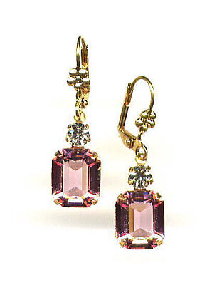 GORGEOUS Antique Baby Rose Pink Earrings with Swarovski crystals 14K Gold gp