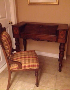 antique rose spinet secretary desk w/chair