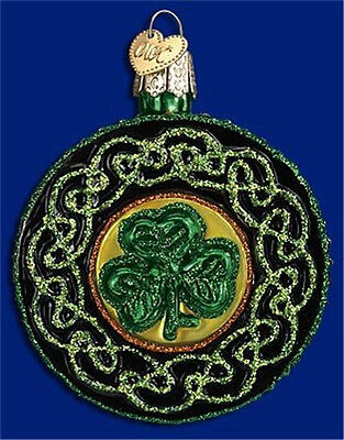 CELTIC BROOCH OLD WORLD CHRISTMAS GLASS SHAMROCK IRISH ST PATTYS ORNAMENT 36116