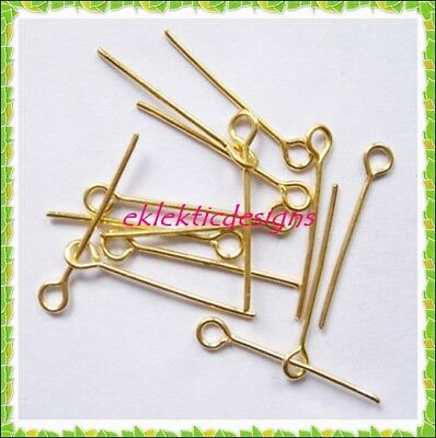 Gold Plated Jewelry Findings - 26mm 100pcs Gold Plated Eyepins Head Jewelry Findings Bracelet Earrings Necklace