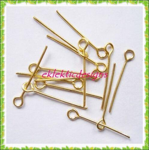 18mm 150pcs Gold Plated Eyepins Head Jewelry Findings Bracelet Earrings Necklace