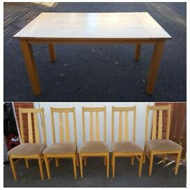 Solid Oak Dining Table & 5 Chairs FREE DELIVER (03488)