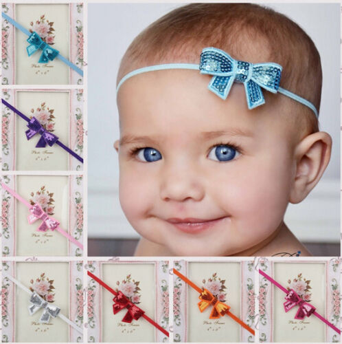 BABY-BOWS-GLITTER-ELASTIC-HEADBAND-HAIR-BAND-ACCESSORIES-WEDDING-CHRISTENING