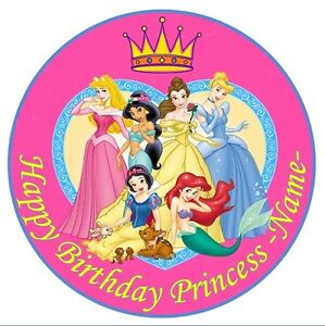 Disney princess Edible Cake Topper - Round - Personalised - Snow White Mermaid