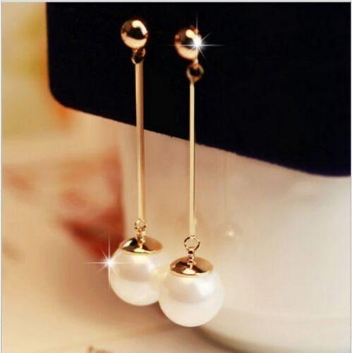 $0.79 - Elegant Women White Pearl Long Dangle Earrings Gold Plated Stud Drop Jewelry