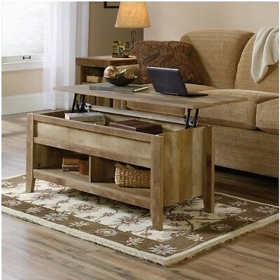 تربيزه جديد Rustic Lift Top Coffee Table Storage Desk Weathered Wood Living Room Furniture