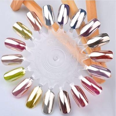 Nail Art UV LED Gel Polish SILVER Metallic Mirror pIGMENT Dust Powder Chrome 1g