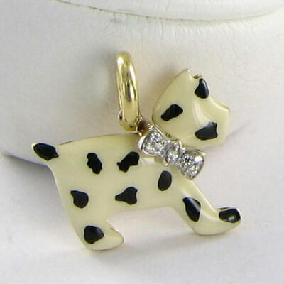 Used, Aaron Basha DG105 Baby Spotted Dog Scotty 0.03cts Diamond Bow 18k YG New $3000 for sale  Matthews