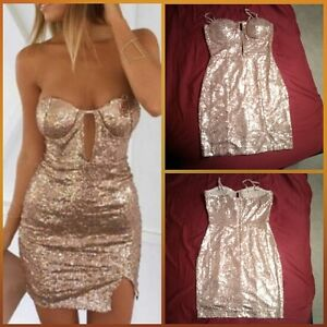 Sequin Sweetheart Dress (Gold) Kitchener / Waterloo Kitchener Area image 1