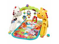 FISHER PRICE NEWBORN TO TODDLER BABY GYM WITH MUSIC SOUNDS SMALL BALLS MAT