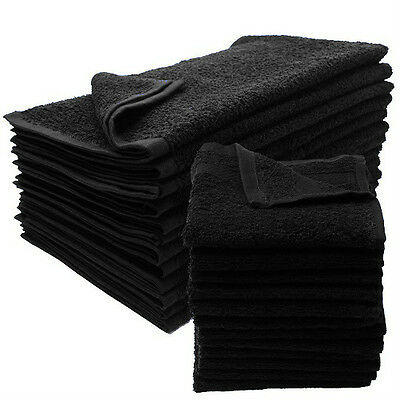 12 new black salon gym spa towels ringspun hand towels 16x27 2.9 lb