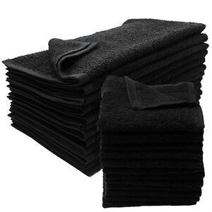 12 NEW BLACK SALON GYM SPA TOWELS RINGSPUN HAND TOWELS 16X27 2.9 LB