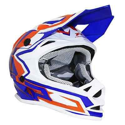 Crosshelm Kind PROGRIP 3009 motocross Mx blau orange Motorrad Junge Mädchen neu (Mädchen Motocross Helm)
