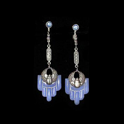 1920s Art Deco Jewelry: Earrings, Necklaces, Brooch, Bracelets ~VTG 1920s ART DECO Egyptian SCARAB & STEPPED Blue Glass SCREWBACK EARRINGS!~ $40.00 AT vintagedancer.com