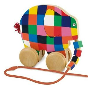 ELMER-THE-ELEPHANT-WOODEN-PULL-ALONG-TOY-GREAT-GIFT-RAINBOW-DESIGNS