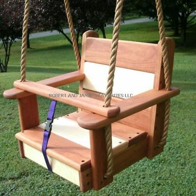 Wood Tree Swing  Cherry Maple Kids Seat With 11 Feet Of Rope Per Side