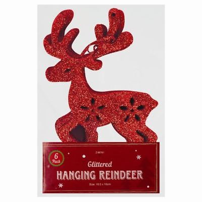 6 Glittered Hanging Reindeer Decorations for Christmas Tree - Red, Silver, Gold (Reindeer Decorations For Christmas)