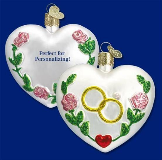 WEDDING HEART OLD WORLD CHRISTMAS GLASS RINGS AND ROSES WHITE ORNAMENT 30013