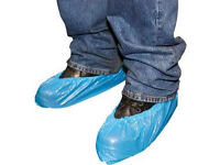 JOBLOT - 1300 x POLYTHENE OVERSHOES - SIZE LARGE - PACKS OF 100 - BRAND NEW