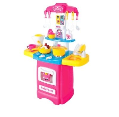 Pinkfong Shark Family Kitchen Play Washing Dishes LED Light Korean 4 Songs Kids