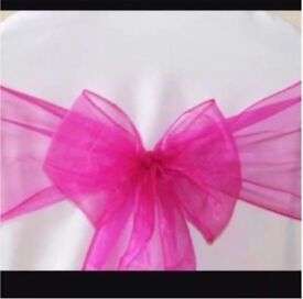 FOR SALE - 100 FUCHSIA / HOT PINK Organza Chair Sashes - BRAND NEW!