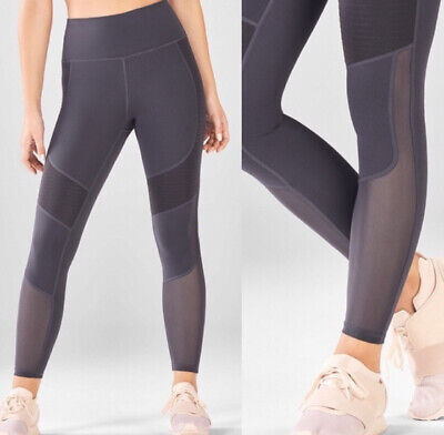 NWT FABLETICS Demi Lovato ROXANNE High Waisted Moto Mesh Shine leggings-Black XS