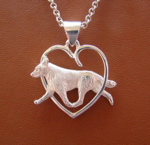 Large Sterling Silver Australian Cattle Dog Moving Study On A Heart Frame