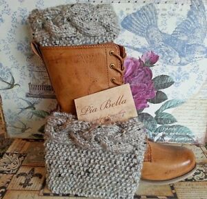 Handmade-Cable-Knitted-Boot-Cuffs-Boot-toppers-Boot-socks-leg-warmers