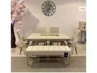 Cream marble table 4 velvet chairs and velvet bench