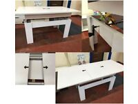 FOR SALE-EXTENDABLE-COFFEE TABLE-WHITE-COLOUR