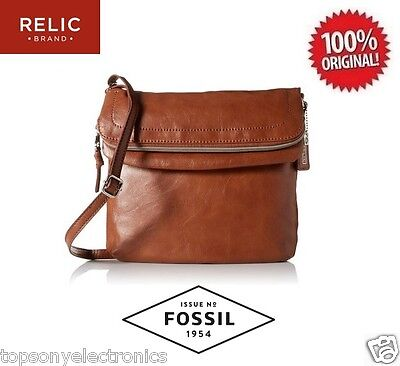 New Relic Cora East West Flap Crossbody Bag By Fossil   Cognac  Double Zipper