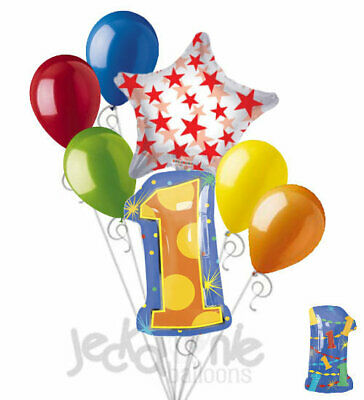 7 pc 1st Birthday Theme Balloon Bouquet Party Decoration Number 1 Primary Color - 1st Party Themes