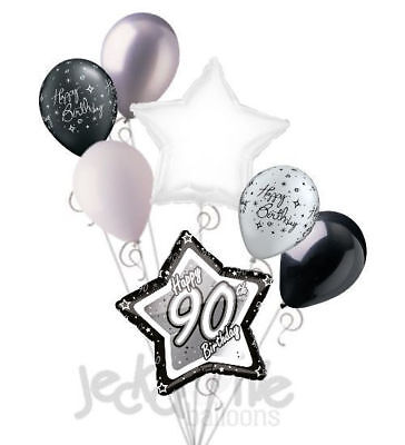 Happy 90th Birthday Balloons (7 pc 90th Elegant Star Happy Birthday Balloon Bouquet Decoration Black &)